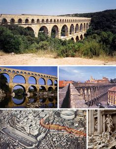 ANCIENT:roman-aqueduct-plumbing, the Romans were well known for their colossal and ingenious works of architecture and engineering, the gravity driven water distributing and waste evacuating aqueducts are still in use today