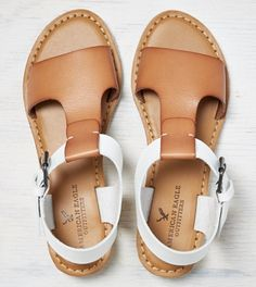 Natural AEO T-Strap Mini Wedge Sandal