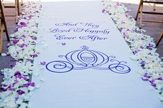 """Custom aisle runner at Parkview Terrace: """"And they lived happily ever after"""""""