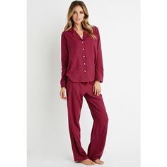 Forever 21 Gingham Flannel PJ Set ($25) ❤ liked on Polyvore featuring intimates, sleepwear, pajamas, long sleeve pajamas, forever 21 sleepwear, forever 21 pajamas, forever 21 and flannel pajamas
