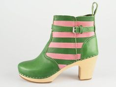 Striped Leather Ankle Boots