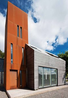 Corten Steel Observatory Tower, The Old Farmhouse, Invergarry, Scotland - Paper Igloo Architects. Roof Cladding, Steel Cladding, Timber Cladding, Timber Roof, Timber Walls, Self Build Houses, Weathering Steel, Corten Steel, House Entrance