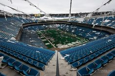 The Silverdome in Detroit lost its roof and pieces of it still liter the field and stands. Click through for more images of this abandoned stadium.