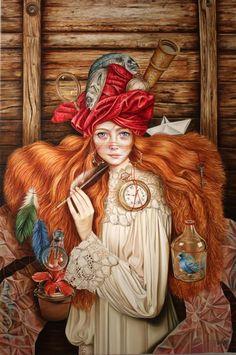 La Navigante, Mixed Media on Canvas by Luis Enrique Toledo del Rio Literary Themes, Bo Bartlett, Alex Colville, Andrew Wyeth, Audrey Kawasaki, Pop Surrealism, Whimsical Art, Fine Art Gallery, Art Nouveau