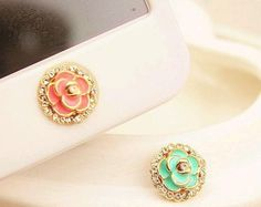 Camellia Flower Home Button Sticker Phone Accessory