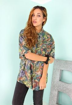 Pure Silk Multi Colour Print Boyfriend Shirt - SS2711152