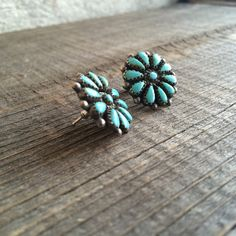 Signed vintage Zuni silver turquoise petit point by romaarellano