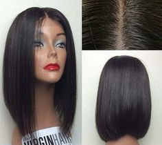 "16"" 100% remy human hair Straight Wave full lace wigs /lace front wigs Silk Top #Lemail #FullWig"