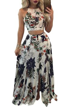 27f729625f Trendy Floral Backless Crop Top Split Maxi Skirt Set