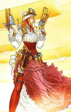 Comics, Comics Everywhere! Victorian Secret: Girls of Steampunk 2 [artist unknown] Arte Steampunk, Steampunk Artwork, Style Steampunk, Steampunk Cosplay, Victorian Steampunk, Steampunk Clothing, Steampunk Fashion, Steampunk Design, Neo Victorian