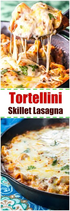 Cheesy Tortellini Skillet Lasagna is perfect when you want lasagna but don't have the time to make it from scratch. Using tortellini this one pot skillet lasagna can be ready in 20 minutes! via @flavormosaic