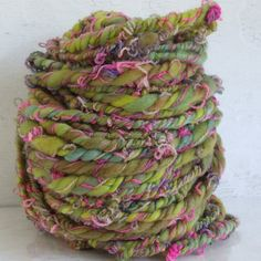 Handspun Yarn - String Bean - bulky merino chain ply art yarn