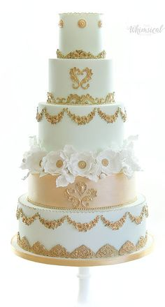 Wedding Cakes - Whimsical & Floral The Whimsical Cakery - Elegant bespoke wedding cakes and dessert tables. Wedding Cakes Northamptonshire. Marie Antoinette wedding cake, gold and mint green