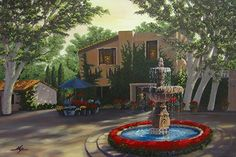 Fountain at Tlaquepaque by Curt Ives Oil ~ 24 x 30 Tlaquepaque is a shopping center in Sedona. It has beautiful architecture, art galleries and boutiques. You can spend most of the day there. I was particularly struck by the architecture and fountains and took many photo's. This was the result of one of them.