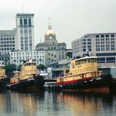 Tug boats lined up on the Savannah River...