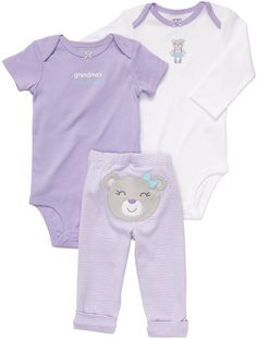 """Carter's Girls 3 Piece Turn Me Around Set with Long Sleeve Bodysuit, Short Sleeve Bodysuit, and Pant - Carters - Babies """"R"""" Us Baby Girl Shoes, Cute Baby Girl, Baby Girl Newborn, Cute Babies, Baby Girls, Fashion Kids, Little Girl Fashion, Carters Baby Clothes, Cute Baby Clothes"""