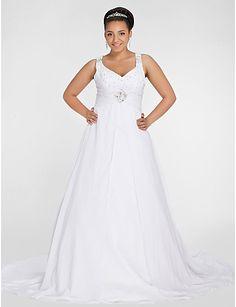 Lanting A-line Petite / Plus Sizes Wedding Dress - Ivory Chapel Train V-neck Chiffon 2016 - $179.99