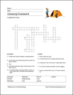 Free Camping Printables!: Camping Crossword Puzzle