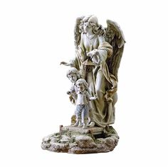 Joseph's Studio Guardian Angel with Children Solar Garden Statue, 20.5-Inch, Made of Resin Stone -- For more information, visit now : Garden statues