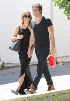 Ian Somerhalder with Nikki Reed walking in sync as they are leaving Farmers Market in CA 8-17-14