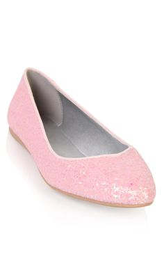 Deb Shops #pink almond toe #ballet #flat with #glitter