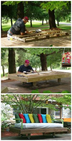 Daybeds from pallets! Daybeds r awesome. Hibbles,can we make 2 or 3 of these for the chill?!