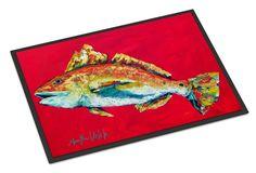 Fish - Red Fish Woo Hoo Indoor or Outdoor Mat 18x27 Doormat
