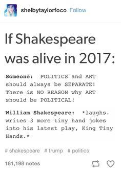 Shakespeare, Humor, Funny, Donald Trump, Literature, Hamlet, Macbeth, Richard III, Henry V, Henry IV, Richard II
