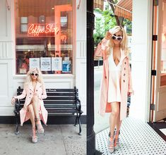 Missguided Pink Trench, Missguided Halter Nude Dress, Missguided Firmina Contrast Perspex Detail Sandal