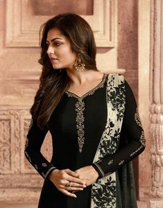 Black And White Minimalist Embroidered Churidar/Pant Suit - Hatkay Dress Indian Style, Indian Dresses, Indian Outfits, Churidar, Anarkali, Indian Fashion Trends, Ethnic Fashion, Salwar Suits Party Wear, Kurti Embroidery Design
