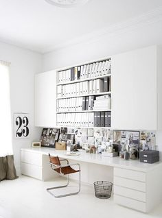 Home Office Ideas - love how everything is put away and hidden. Great for loft space office New York