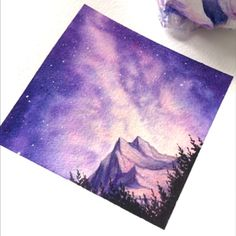 Watercolor Galaxy Painting - Galaxy Painting - Step By Step Acrylic Painting Tutorial Watercolor Galaxy, Watercolour Painting, Painting & Drawing, Watercolor Tips, Acrylic Painting On Paper, Watercolor Water, Mirror Painting, Painting Inspiration, Art Inspo