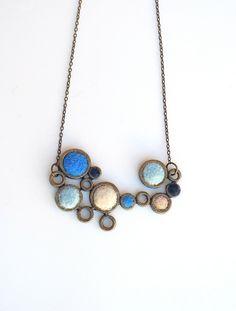 Blue White Circle Winter Necklace? Etsy.