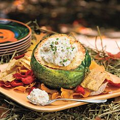 Onion-Bacon Dip Recipe, served in an acorn squash