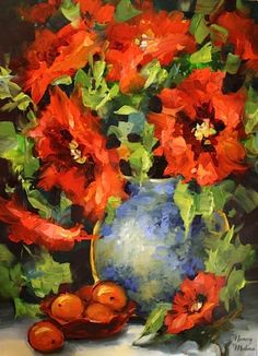 Fire and Ice Poppies and a January Workshop by Texas Artist Nancy Medina, painting by artist Nancy Medina