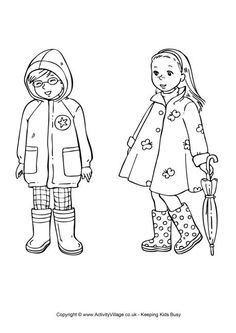 Spring clothing colouring page