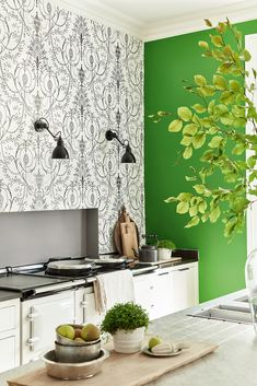 Wallpaper: Marlborough – Glacé Wall inset: Lead Colour 117 Units: Wood Ash 229. Little Greene Paint CompanyFeature ...