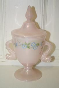 "Hand painted Fenton fish handles vase 9"" tall"