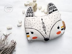 Fox pillow, cotton canvas material, Original hand acrylic painted.