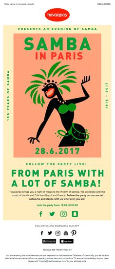 Havaianas invites you to its Samba in Paris event - Really Good Emails