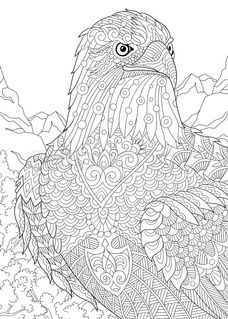 Stock vector of 'Stylized eagle (hawk, falcon, osprey) among prairie mountains. Freehand sketch for adult anti stress coloring book page with doodle and zentangle elements. Bird Coloring Pages, Mandala Coloring Pages, Printable Coloring Pages, Coloring Books, Free Adult Coloring Pages, Mandalas Painting, Mandalas Drawing, Mandala Art, Zentangles