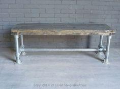 Bankje Steigerbuis Dining Bench, Entryway Tables, Furniture, Home Decor, Decoration Home, Table Bench, Room Decor, Home Furnishings, Home Interior Design