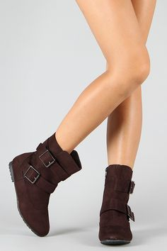 Suede, round toe booties. I love strappy boots! ($16.00)