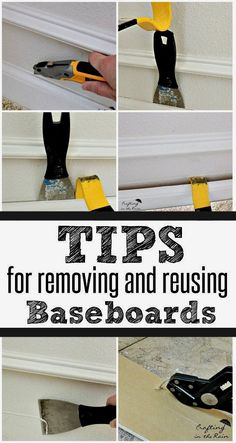 If you're removing carpet and replacing it with wood floor, you should remove the baseboards. Here's how to take them off in a way that lets you reuse them after the floor is installed. Save time and money by not buying new baseboards! Removing Baseboards, Removing Carpet, How To Remove Carpet, House Cleaning Tips, Spring Cleaning, Cleaning Hacks, Diy Hacks, Homemade Toilet Cleaner, Cleaning Painted Walls