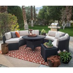 Designed to resist the elements year-round, this set comes complete with four benches and a round dining table.