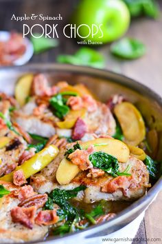 Apple & Spinach Pork Chops | Garnish & Glaze