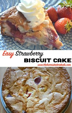 Easy Strawberry Biscuit Cake! This twist on Strawberry Shortcake will have everyone coming back for seconds. This is such an easy strawberry recipe. Enjoy!