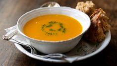 Butternut squash soup with parsley purée