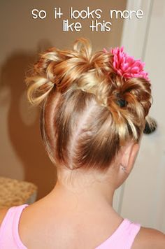 37 Creative Hairstyle Ideas For Little Girls Triple Buns Teenage Hairstyles, Dance Hairstyles, Cute Girls Hairstyles, Great Hairstyles, Creative Hairstyles, Hairstyle Ideas, Hair Ideas, School Hairstyles, Step Hairstyle
