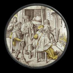 Anonymous | Sheltering the Homeless, Anonymous, c. 1510 - c. 1520 | Ruit, rond, met gebrandschilderde voorstelling van het herbergen van de pelgrims. De gastheer staat in het midden van het vertrek en verwelkomt vier vreemdelingen in zijn huis. De staande man links en de zittende man zijn pelgrims. Omdat pelgrims, te herkennen aan de wandelstaf en de op hun rug hangende pelgrimsfles, altijd onderweg zijn, symboliseren zij hier duidelijk de uitgebeelde gastvrijheid. Aan het vuur warmen zich…